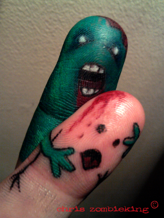 i am the proud owner of a new tattoo zombie finger attack